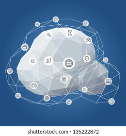 Information and Telecommunication Icon Cloud Network Vector Illustration