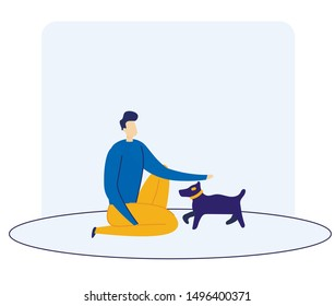 Informational Banner Dog Training Cartoon Flat. Man Crouched and Stroking Small Breed Dog. Guy is Training Pet. Recreation and Entertainment for Owner Dog and Pet. Vector Illustration.