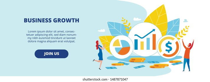 Informational Banner Inscription Business Growth. Poster Enhancing Brand Credibility. Guy and Girl are Glad to Growth Financial Indicators. Pie Charts on Equity. Vector Illustration.