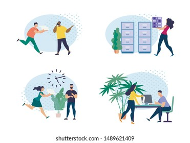 Informational Banner Set Office Weekdays Flat. Investment Projects for Income. Men and Women are Running around Office With Documents, Boss Looks at his Watch. Vector Illustration.