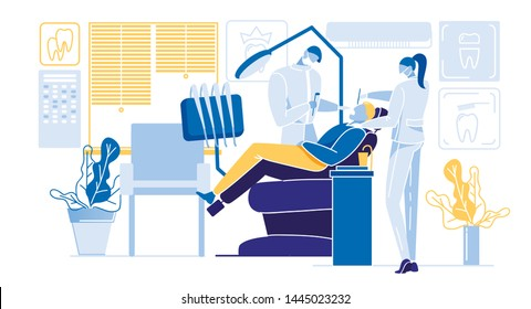 Informational Flyer Dental Treatment Cartoon. Man is in Chair in Office Stamotologist. Man Treats Teeth. Dentist and Nurse are Performing Treatment Procedures. Vector Illustration.