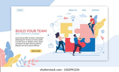 Informational Flyer Inscription Build your Team. Best Training Courses. Female Entrepreneur Working in an Online Business. Guy is Sitting on Piece Puzzle, People are Assembling Puzzle.
