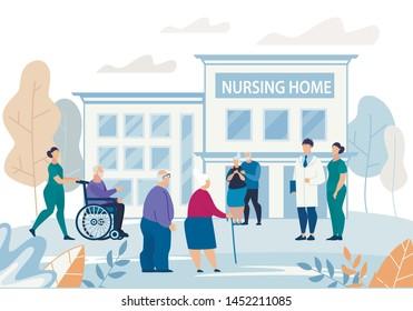 Informational Flyer Nursing Home Building Flat. Poster Group Elderly People Walks Near Nursing Home Building. Banner Elderly People Meet Visitors on Street Cartoon. Vector Illustration.