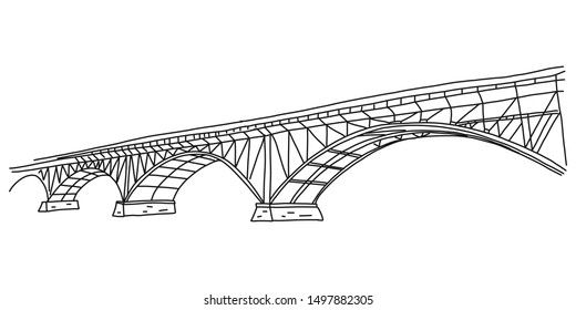 Informational flyer simple quick sketch bridge. Arched bridge for crossing various types vehicles across water surface. Steel and concrete construction. Beautiful building. Vector illustration.