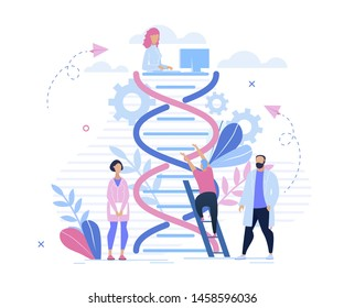 Informational Poster Genetic Research Cartoon. Men and Women in White Coats Study Science Heredity. Medic Investigate Cause Disease and Human Characteristics at Genetic Level Flat.