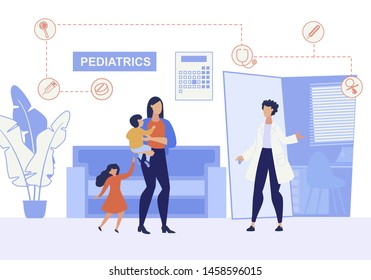 Informational Poster Inscription Pediatrics Flat. Banner Female Pediatrician Doctor Meets in Corridor Woman with Children. Mother Brought for Inspection and Vaccination Children Cartoon.