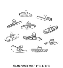 Informational poster set hand drawn mexican. National mexican clothing item, sombrero. Hat with high cone-shaped tollium rounded top edge fields. Part mexican national costume. Vector illustration.