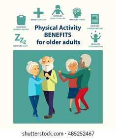 Informational poster template for senior. Physical activity benefits for older adults. Important of physical activities for elderly people. Dancing