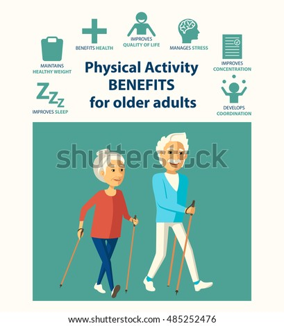 Informational Poster Template Senior Physical Activity Stock Vector