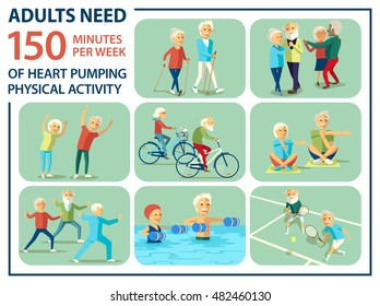 Informational poster template for senior. Some type of beloved and needed physical activities for pensioner: nordic walking, dancing, physical jerk, biking, yoga, tai chi, aqua fitness, doubles tennis
