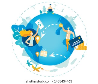 Informational Poster Transfer Funds Worldwide. Closeup Blue Planet. Man and Woman in Different Parts World Send Money to Each Other. Flat Intermediary for Profitable Currency Exchange.