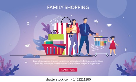 Informational Poster Written Family Shopping. Banner Parents and Children in Mall Shopping for Whole Family. Mom, Dad and Children Carry Cart on Background Large Packages. Vector Illustration.
