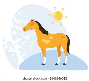 Informative Banner Nature Summer Pasture Horse. Beautiful Horse Stands on Street in Hot Sun. Beautiful Poster Pet Protection. Flyer Red Horse Stands in Summer in Meadow. Vector Illustration.