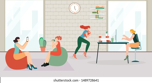Informative Banner Preparation Project Cartoon. Project Activity Company. Girls in Workplace are Photographed. Woman Running Around Office. All Female Employee. Vector Illustration.