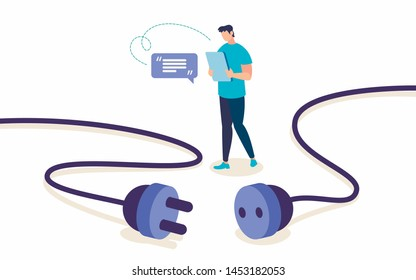 Informative Banner Wireless Internet Cartoon. Poster Conceptual Idea Human Independence from External Circumstances. Guy Uses Laptop without Using Electricity. Vector Illustration.