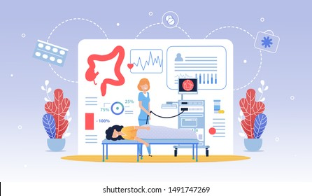 Informative Flyer Hydro Colonoscopy Cartoon Flat. Regular Visit to Doctor Prolongs Healthy Period Life. Woman is Being Examined in Clinic, Nurse is Standing Nearby. Vector Illustration.