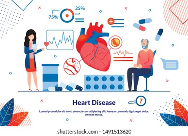 Informative Flyer Inscription Heart Disease Flat. Detailed Study Structure and Functioning Organs and Systems. An Elderly Man Examines Heart in Doctors Office, Selecting Medicines.