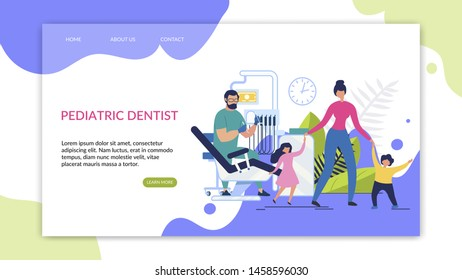 Informative Flyer Inscription Pediatric Dentist. Poster Mother With Children At Reception At Dentist. Banner Modern Equipment And High Qualifications Doctor Cartoon. Vector Illustration.