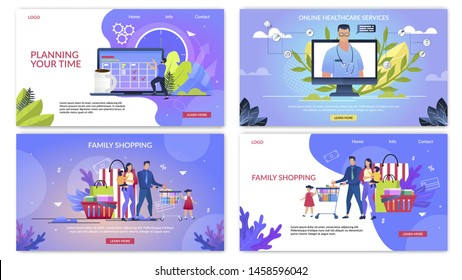 Informative Flyer Inscription Planning Your Time. Poster Written Online Healthcare Service, Family Shopping. Happy Parents With Children Shopping in Supermarket. Vector Illustration.