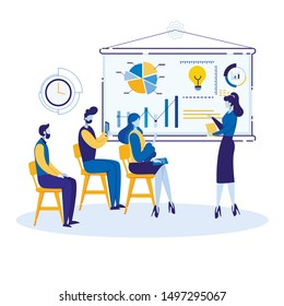 Informative Flyer Service Marketing Cartoon Flat. Internal Marketing Domestic Sales Goods and Services. Woman Explains Graphic Diagram on an Interactive Board. Vector Illustration.