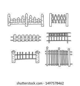 Informative flyer set hand drawn fence, cartoon. Fence is different style from different materials. Wooden and metal constructions. Decorative decoration. Obstacle from entering territory.