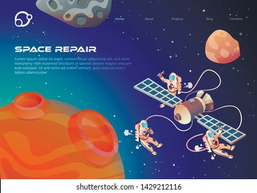 Informative Flyer Space Repair Lettering Cartoon. Cosmonauts in Outer Space Repair Satellite. Closeup Red Planet on Background Outer Space Astronauts Fly Near Satellite. Vector Illustration.