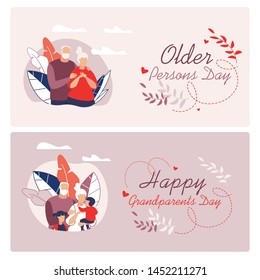Informative Flyer Written Happy Grandparents Cartoon. Set Banner Older Persons Day Lettering.  Long Family Relationships are Time Tested. Love in Old Age Flat. Vector Illustration.