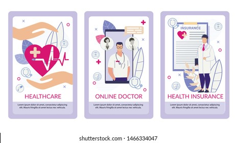 Informative Flyer Written Health Insurance Flat. Banner Set Inscription Online Doctor  Healthcare Cartoon. Сlose-up Smartphone with App for Access to Clinic Patient Card. Vector Illustration.