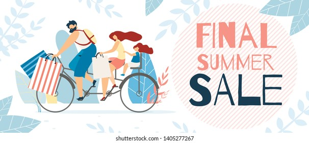 Informative Poster Inscription Final Summer Sale. Sale Goods and Clothing for Whole Family. Invitation Coupon in Childrens Shopping Center. Family with Child Rides Bike for Shopping.