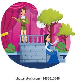 Informative Poster Tetral Studio Cartoon Flat. Depth Penetration into Very Essence Stage Art. Theatrical Performance with Beautiful Scenery, Actors In Costumes. Vector Illustration.