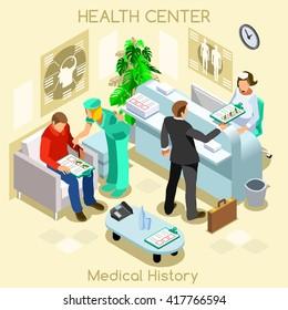 Informed Consent Medical Clinic Hospital Health Center Patient medical history wait room dental care medical visit. 3D Isometric Hospital clinic reception patient wait vector doctor nurse illustration