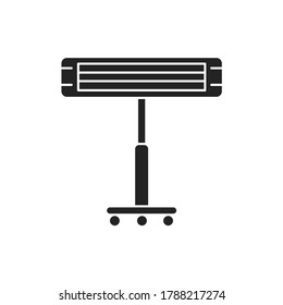 Infrared heater black glyph icon. Heats the room, standing on a metal stick. Pictogram for web page, mobile app, promo. UI UX GUI design element