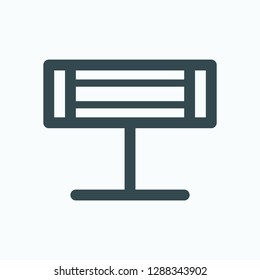 Infrared heater icon, linear electric infrared heater vector icon