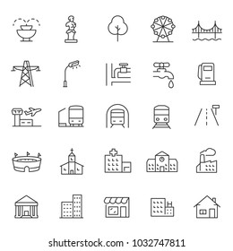 infrastructure and city elements icon set. linear design. Line with editable stroke