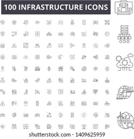 Infrastructure line icons, signs, vector set, outline illustration concept