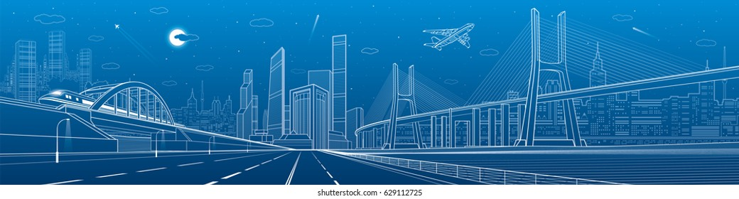 Infrastructure panorama. Large cable-stayed bridge. Train move on the bridge. Airplane fly. Empty highway. Night modern city on background, towers and skyscrapers, vector design art