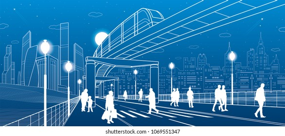Infrastructure and transport panorama. Monorail railway. People walking at crosswalk. Train move. Illuminated street. Modern night city. Towers and skyscrapers. White lines. Vector design art