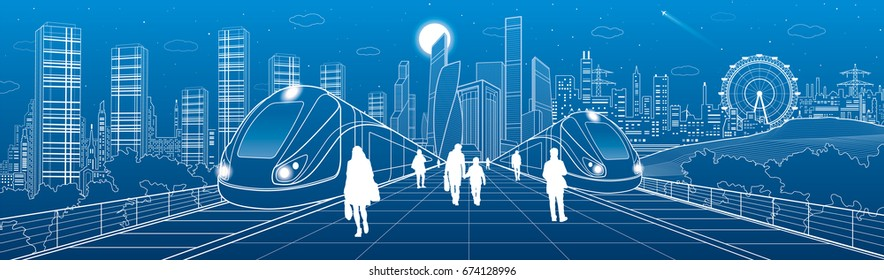 Infrastructure and transport panorama, people waiting for train on station, two locomotive move over bridges, modern city on background, business buildings, urban skyline, vector design art