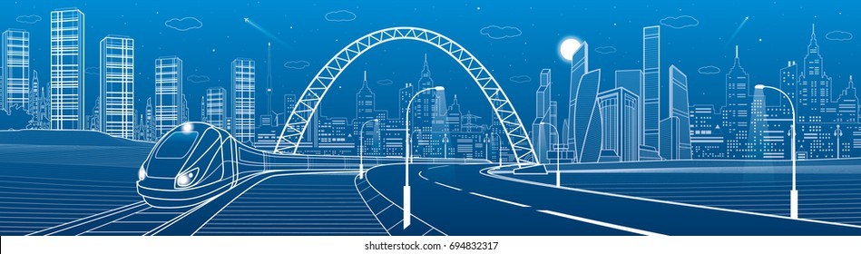 Airplane blueprint stock vectors images vector art shutterstock infrastructure transportation panoramic train rides under bridge towers and skyscrapers urban scene malvernweather Gallery