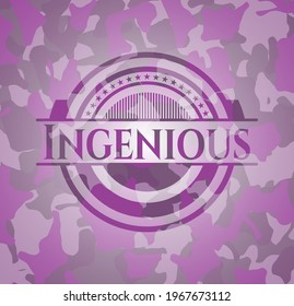 Ingenious pink and purple camouflage emblem. Vector Illustration. Detailed.