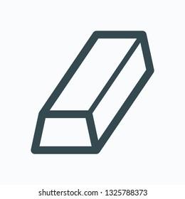 Ingot of gold icon, aluminium metal ingot vector icon