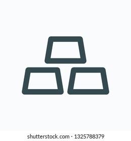 Ingots gold icon, metal, steel, gold, aluminium ingots vector icon