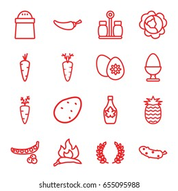 Ingredient icons set. set of 16 ingredient outline icons such as potato, carrot, peas, cabbage, chili, pepper, maple syrup, cucumber, easter egg, egg, pineapple, olive branch