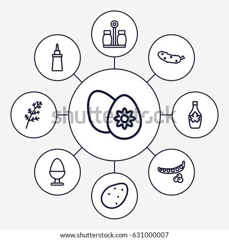 Ingredient Icons Set Set 9 Ingredient Stock Vector Royalty Free