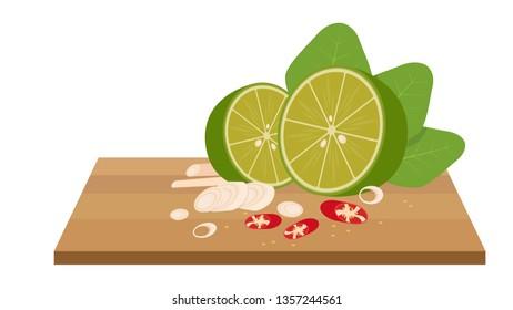 ingredient Tomyam on chopping wood. ingredient on white background.
