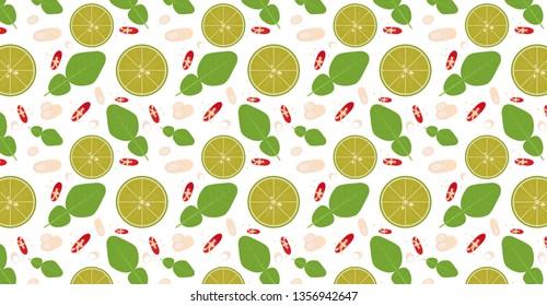 ingredient Tomyam pattern vector. background. wallpaper.