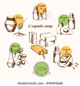 Ingredients for creating organic soap. Natural product. Sketch freehand drawing in graphic style. Vector illustration