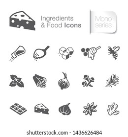 Ingredients & food related icons, herbal, plants, graphic