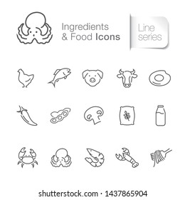 Ingredients & foods related icons. Seafood, poultry & vegetables.