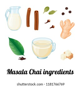 Ingredients for Masala Chai. Leaves of black tea, cinnamon, black pepper, ginger, sugar, clove spice, green cardamom, milk jug. Isolated vector object on white background. Cartoon style. Hand drawn.